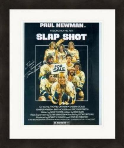 Slap Shot autographed 8x10 photo Dennis Lemieux Chiefs Goaltender Yvone Barrette #SC4 Matted & Framed
