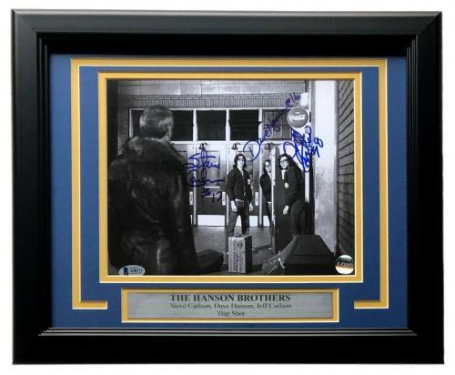 Slap Shot Hanson Brothers Charlestown Chiefs Triple Signed Framed 8x10 Photo BAS