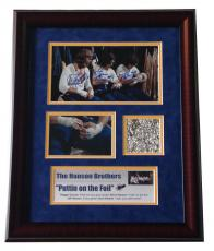 Slap Shot Hanson Brothers signed photo foil collage framed autograph CBM COA