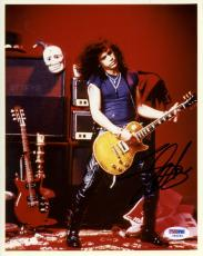 "Slash Autographed 8""x 10"" Guns N' Roses Playing Guitar Red Background Photograph - PSA/DNA COA"