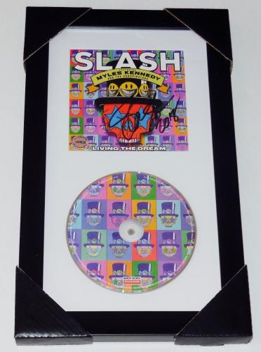 Slash Autographed Living The Dream Cd Cover (framed & Matted) - Guns N Roses!