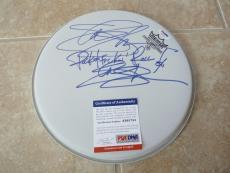 "Slash Guns Roses Dual Signed Autographed PSA Certified 10"" Drumhead Inscription"