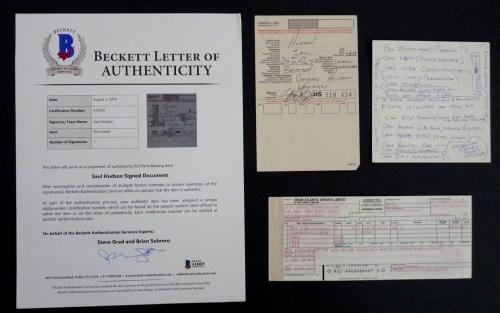 SLASH Guns & Roses Rare Handwritten Note Airline Card Signed Saul Hudson Beckett