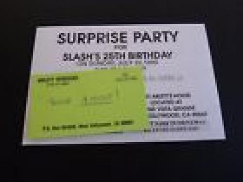 Slash Guns Roses RARE Original 25th Surprise Birthday Invite Card Great Content