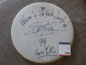 "Slash Guns & Roses Signed Autographed PSA Certified 15"" Drumhead  W Lyrics 1994"