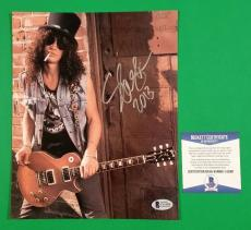 "Slash Signed 8"" X 10"" Color Photo With Proof And Bas Beckett Coa - Guns N Roses"