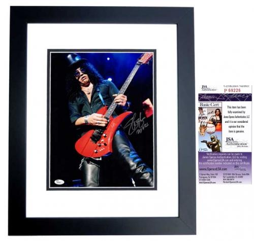 Slash Signed - Autographed Guns N Roses 11x14 inch Photo BLACK CUSTOM FRAME - JSA Certificate of Authenticity