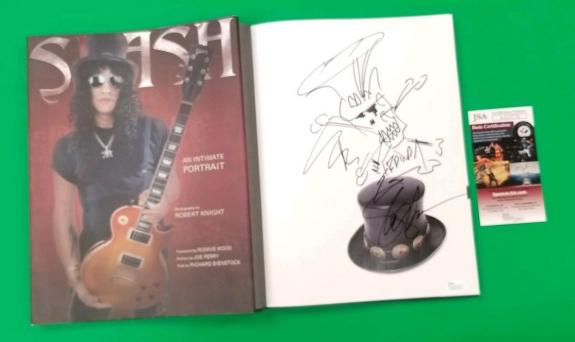 Slash Signed With His Hand Drawn Sketch In The Book With Jsa Coa Guns N' Roses