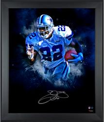 Emmitt Smith Dallas Cowboys Framed Autographed 20'' x 24'' In Focus Photograph - Mounted Memories