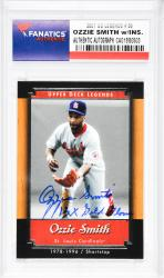 Ozzie Smith St. Louis Cardinals Autographed 2001 Upper Deck Legends #55 Card with 13 X Gold Glove Inscription - Mounted Memories  - Mounted Memories