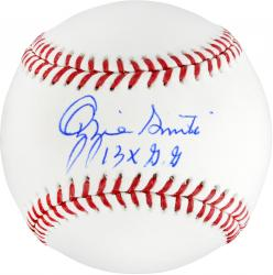 Ozzie Smith Autographed Baseball with 13 x GG Inscription
