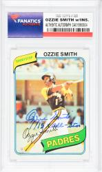 Ozzie Smith San Diego Padres Autographed 1980 Topps #393 Card with 15 X All Star Inscription - Mounted Memories  - Mounted Memories