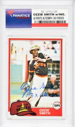 Ozzie Smith San Diego Padres Autographed 1981 Topps #254 Card with 15 X All Star Inscription - Mounted Memories  - Mounted Memories