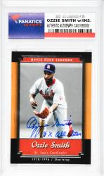 Ozzie Smith St. Louis Cardinals Autographed 2001 Upper Deck Legends #55 Card with 15 X All Star Inscription - Mounted Memories  - Mounted Memories