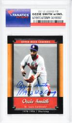 Ozzie Smith St. Louis Cardinals Autographed 2001 Upper Deck Legends #55 Card with 1982 W.S. Champ Inscription