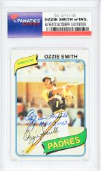 Ozzie Smith San Diego Padres Autographed 1980 Topps #393 Card with HOF 2002 Inscription - Mounted Memories  - Mounted Memories