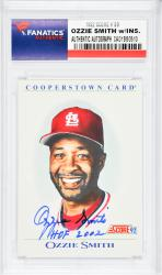 Ozzie Smith St. Louis Cardinals Autographed 1992 Score #B9 Card with HOF 2002 Inscription - Mounted Memories  - Mounted Memories