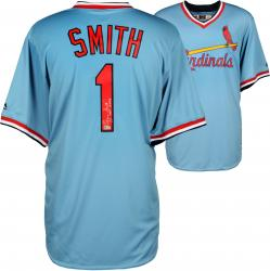 Ozzie Smith St. Louis Cardinals Autographed Light Blue Jersey with HOF 2002 Inscription - Mounted Memories
