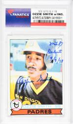 Ozzie Smith San Diego Padres Autographed 1979 Topps #116 Rookie Card with MLB Debut 4/7/78 Inscription