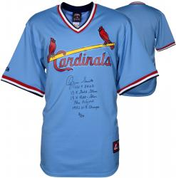 Ozzie Smith St. Louis Cardinals Autographed Light Blue Jersey with Multiple Inscriptions-#2-23 of a Limited Edition #24