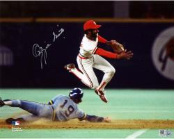"""Ozzie Smith St. Louis Cardinals Autographed 8"""" x 10"""" Double Play In Air Photograph"""
