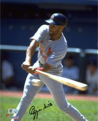 "Ozzie Smith St. Louis Cardinals Autographed 8"" x 10"" Swing at Ball Photograph"
