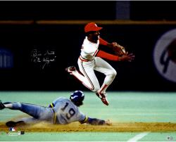 "Ozzie Smith St. Louis Cardinals Autographed 16"" x 20"" Double Play Photograph with The Wizard of Oz Inscription"