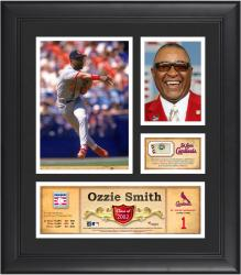 """Ozzie Smith St. Louis Cardinals Framed 15"""" x 17"""" HOF Collage with Piece of Game-Used Ball"""