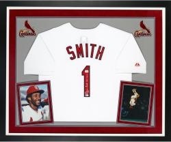 """Ozzie Smith Autographed Cardinals White Jersey with """"HOF"""" Inscription - Deluxe Framed"""