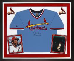 """Ozzie Smith Autographed Cardinals Jersey with """"HOF"""" Inscription - Deluxe Framed"""