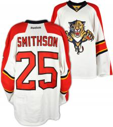 Jerred Smithson Florida Panthers Game-Used Hockey FLP White Jersey-Set 2