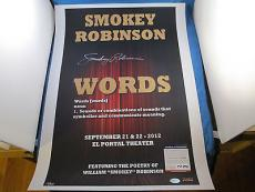 Smokey Robinson Signed 18x24 Words Poster PSA DNA COA Numbered 14/20