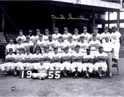 Duke Snider Brooklyn Dodgers Autographed 11'' x 14'' 1955 Whole Team Photograph