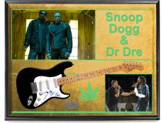 Snoop Dogg Dr. Dre Autographed Signed Guitar + Display UACC RD COA AFTAL