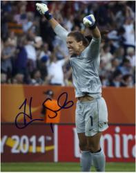"Hope Solo U.S. Soccer Team Autographed 8"" x 10"" Arms Up Photograph"