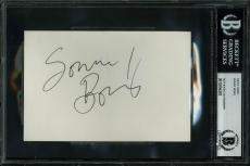 Sonny Bono Signed 4x6 Index Card Autographed BAS Slabbed