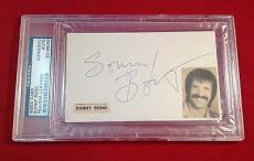 Sonny Bono Signed Index Card  Slabbed PSA/DNA #83108038
