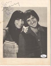 Sonny & Cher Music Legends Dual Signed Autographed 8x10 Magazine Page Jsa Loa