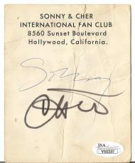 Sonny & Cher Music Legends Jsa Loa Signed Autograph 4x5 Fan Club Post Card Rare