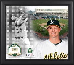 """Sonny Gray Oakland Athletics Framed 15"""" x 17"""" Mosaic Collage with Game-Used Baseball-Limited Edition of 99"""