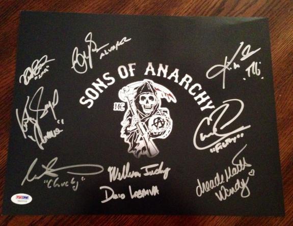 SONS OF ANARCHY SOA Cast Signed 11x14 Photo Katey Sagal Coates +7 PSA/DNA COA #3