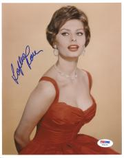 "Sophia Loren Autographed 8""x 10"" Wearing Red Dress Photograph - PSA/DNA COA"