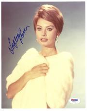 "Sophia Loren Autographed 8""x 10"" Wearing White Fur Coat Photograph - PSA/DNA COA"