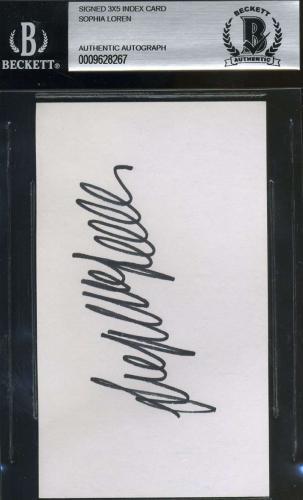Sophia Loren Bas Beckett Authenticated Signed Postcard Autograph
