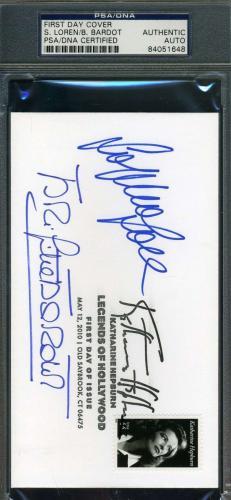 SOPHIA LOREN BRIGITTE BARDOT Hand Signed PSA DNA FDC Autograph Authentic