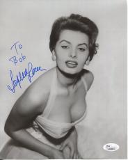 SOPHIA LOREN HAND SIGNED 8x10 PHOTO+COA      YOUNG+SEXY POSE     TO BOB     JSA