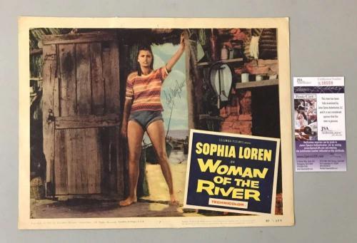 Sophia Loren Hand Signed Jsa Original 11x14 Woman Of The River Lobby Card