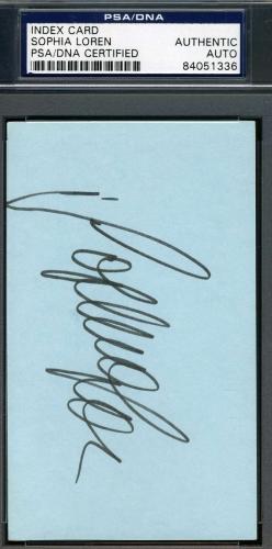 SOPHIA LOREN Hand Signed PSA DNA COA 3x5 Index Card Autographed Authentic