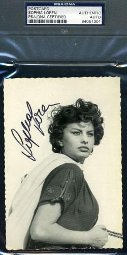 SOPHIA LOREN Hand Signed PSA DNA Vintage Photo Postcard Autographed Authentic