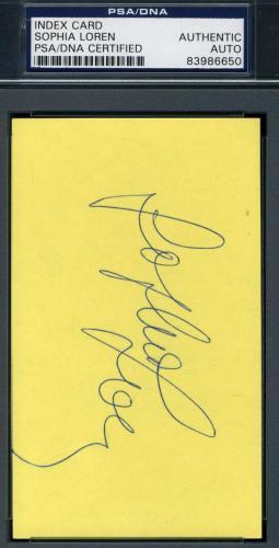 Sophia Loren Hand Signed Psa/dna 3x5 Index Card Authentic Autograph
